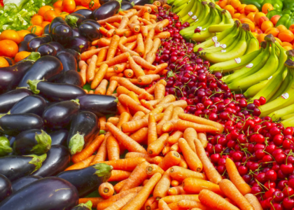 Array of fruits and veggies